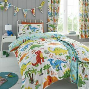 HLC Girls Boys Kids Cute Dinky Dinosaurs Duvet Cover Curtains Throw Bunting