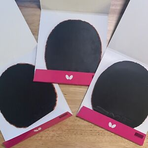 3 Used Butterfly Tenergy 64 Black Table Tennis Rubbers Ping Pong