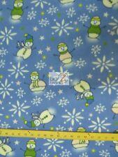FLEECE PRINTED FABRIC CHRISTMAS HOLIDAY - Snowman Winter Blue - BLANKET BY YARD