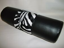 Black Faux Leather Velboa Faux Fur Zebra Design Bolster Cushion & Cushion Filler