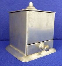 ANTIQUE PEWTER INKWELL + QUILL HOLDER. Drawer. Inserts. Lid. Reed & Barton.1824