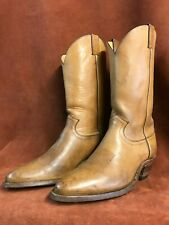 JUSTIN BOOT 10 1/2D, OIL TAN LEATHER, DECORATIVE STITCHING, $75
