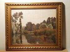 Tableau ancien Edouard A. RAGU peinture paysage campagne lac étang bord rivière