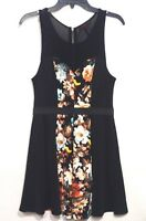 MATERIAL GIRL Misses Sz M Dress Black Floral Sleeveless Illusion Tank Fit Flare