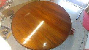 "Vintage solid wood round dining table. 61"" diameter"