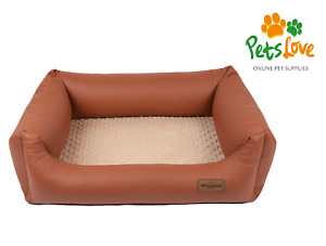 Luxury Faux Leather Soft Plush Dog Bed Waterproof Strong Bolster Small-Medium