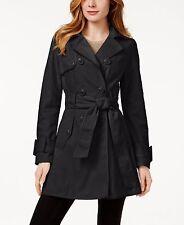 Betsey Johnson 'Corset Back' Black Trench Coat Jacket Sz M - Beautiful NWT