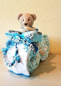 Windeltorte,Windelmotorrad,Geschenk,Taufe,Geburt,Junge,Mädchen,Schnullerkette
