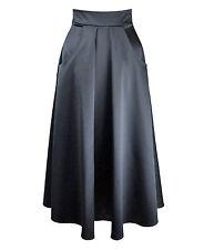 Baylis & Knight Black Satin Flared Pocket MIDI Skirt Retro Pin Up 50's Cute