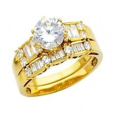 14K Yellow Gold 2 Cts Simulated Diamond Engagement & Wedding Band Duo Bridal Set