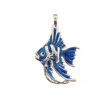 Sterling Silver 925 Blue Angel Fish Pendant with enamel overlay comes with chain