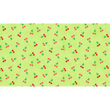 Makower Patchwork Fabric Fruity Friends Cherries Green - Per 1/4 Metre