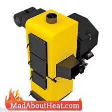 ABI 50kW Multi Fuel Space Heater burn wood waste cardboard coal hot air blower