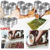 12Pcs Stainless Steel Magnetic Spice Jars Rack Pot Herb Tins Storage Holder UK