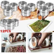 12Pcs Stainless Steel Magnetic Spice Jars Rack Pot Herb Tins Storage Holder UK
