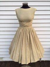 Vintage 50s Full Circle Dress Unique Wrap Around Waist Shelf Bust Embroidered
