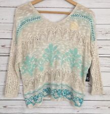 New Directions Open Crochet Tan Teal Sweater Loose Fit Wide SeeThrough Small NWT