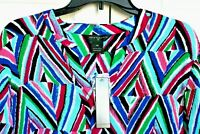 New Investments II Blouse Top Multi Color   Aqua Pink Purple 3/4 Sleeve Size 1X