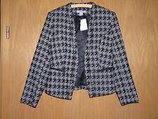 Damen Kurzblazer Jacke H&M Vintage SW Karo Hahnentritt Pepita Tartan Neu Gr. 38