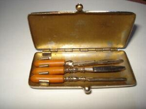 """VINTAGE OLD Manicure Set Nail  AMBER BAKELITE Tools Kit 3"""""""