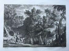 Rubens Landscape c.1640 Antique Engraving Bolswert Pastoral Country Steam