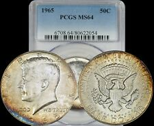 1965 Kennedy Half Dollar PCGS MS64 Turquoise/Orange/Yellow Toned Coin