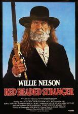 """RED HEADED STRANGER (1986) WILLIE NELSON MOVIE POSTER  27x40"""" BOB TANNENBAUM ART"""