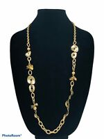 Chicos Long Medallion Necklace Matte Gold Tone Chain Signed