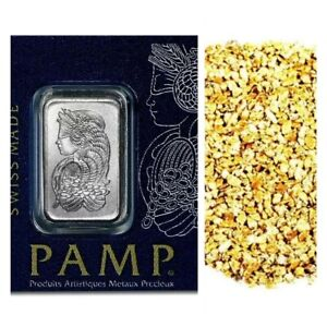 1 G PAMP SUISSE .9995 PLATINUM LADY FORTUNA BAR + 10 PIECE ALASKAN GOLD NUGS