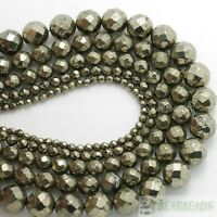 Natural Iron Pyrite Gemstone Faceted Round Beads 3mm 4mm 6mm 8mm 10mm 12mm 16''