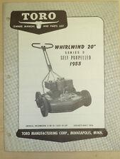 "1954 Toro Mower Operating Parts Manual Model Whirlwind 20"" Sn# 3 W 0 12001 & Up"