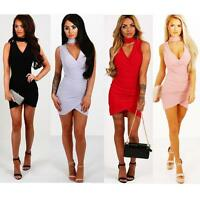 Sexy Womens Choker V Neck Wrap Over Evening Party Cocktail Bodycon Mini Dress UK