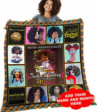 Personalized Black Woman Quilt Blanket, Funny Gift for Black Women, Friend Gift