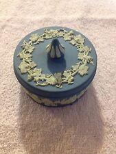 Vintage Wedgwood England Blue Jasperware Lidded Powder/Trinket Box, Grape Motif