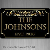 "Personalized Family Name Established Year Custom Plaque 8"" x 12"" Aluminum Sign"
