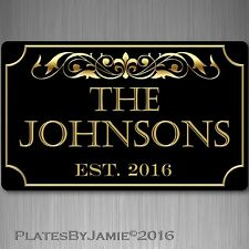 Personalized Family Name Elished Year Custom Plaque 8 X 12 Aluminum Sign