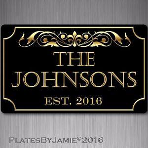 "Personalized Family Name Established Year Custom Plaque 8"" x 12"" Aluminum Sign"