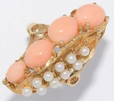 GORGEOUS!! Estate Vtg Solid 14k Yellow Gold Natural Coral & Pearl Cocktail Ring