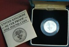 ROYAL MINT UK 1985 SILVER PROOF £1 ONE POUND COIN - CASED WITH COA