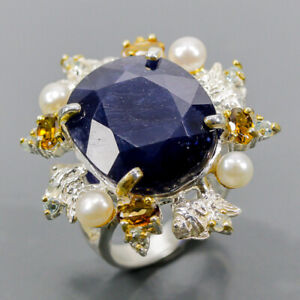 Handmade Blue Sapphire Ring Silver 925 Sterling  Size 8 /R173600