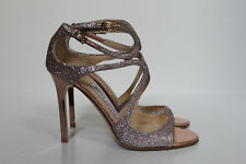 New sz 6 / 36 Jimmy Choo Lang Strappy Light Pink Glitter Ankle Cage Sandals Shoe