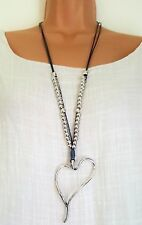 New Lagenlook Silver Colour Long Twisted  heart dangle Necklace Pendant