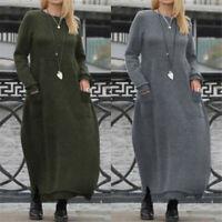 Women Long Sleeve Lace Sweatshirts Kaftan Abaya Flare Swing Maxi Dress Plus Size