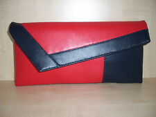 RED & NAVY BLUE asymmetrical faux leather clutch bag.  Handmade in the UK.