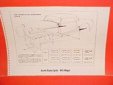1968 AUSTIN-HEALEY SPRITE 3000 CONVERTIBLE MG MIDGET FRAME DIMENSION CHART
