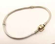 Auth Sterling Silver Pandora Charm Bracelet 14K Gold Barrel Clasp Blank Plain