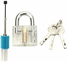SET DIY PICKING Padlock with Disc Detainer Lock Pick Bump Key Locksmith + Guides