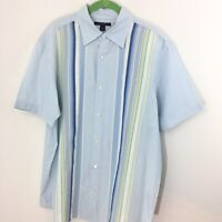 Banana Republic L Large Men's Light Blue Stripe 100% Cotton New Shirt Button Up
