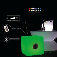 Light Up LED Colour Changing Bluetooth Cube Seat Chair - Garden, Patio, Party