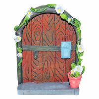 MAGICAL FAIRY DOOR WITH MAIL BOX FLOWERPOT AND PURPLE FLOWERS